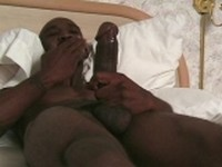 Sexy Black Guy Jerking Off in his Bed at Stud Footage